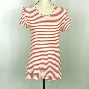 J Crew Painter Tee Long Womens M White Coral Cap